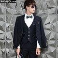 Brands BONSPOL 2016 new men's suit three piece suit slim casual suit male Korean groom fashion wedding dress Party Blazer suit