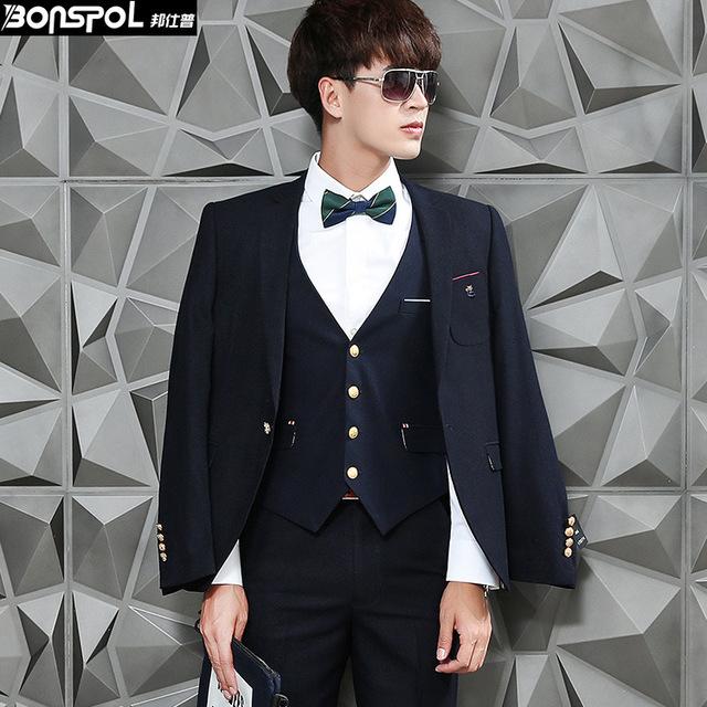 Marcas BONSPOL 2016 homens novos do terno de três peças terno slim Partido do vestido de casamento do noivo Coreano moda Blazer ocasional terno masculino terno