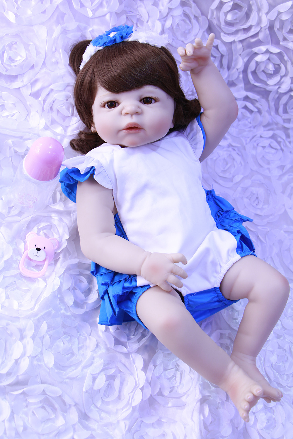 23inch full silicone Reborn Baby Doll Soft Lifelike Newborn Doll Girls Toy Birthday Gifts bathe dolls Bedtime Early Education23inch full silicone Reborn Baby Doll Soft Lifelike Newborn Doll Girls Toy Birthday Gifts bathe dolls Bedtime Early Education