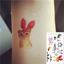 Cute Cat Flash Tattoo Hand Sticker 10.5x6cm Small Waterproof Henna Beauty Temporary Body Tattoo Sticker Art FREE SHIPPING