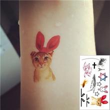 Cute Cat Flash Tattoo Hand Sticker 10.5*6cm Small Waterproof Henna Beauty Temporary Body Tattoo Sticker Art FREE SHIPPING