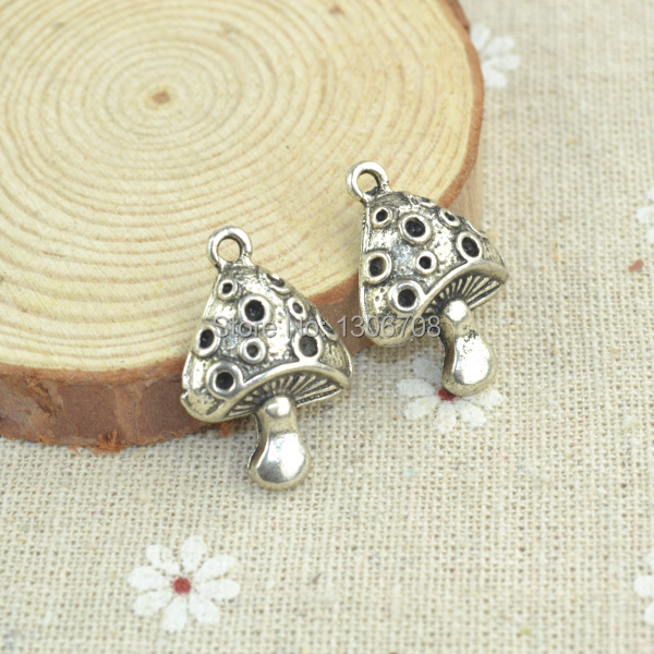 50pcs/lots alloy antique metal charm tibetan silver style mushroom pendant fit jewelry making Z42552