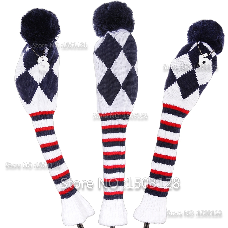 Nuevo 3Pcs 1 # 3 # 5 # One Set Triple Color Wool Knit Golf Clubs Set headcovers Fundas Driver 3 # 5 # Fairway wood Envío gratis