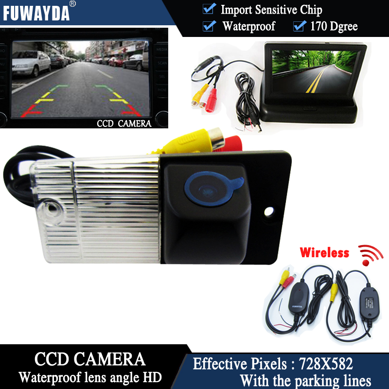 FUWAYDA Wireless Color CCD Chip Car Rear View Camera <font><b>for</b></font> <font><b>KIA</b></font> SORENTO SPORTAGE + 4.3 Inch foldable LCD TFT <font><b>Monitor</b></font>
