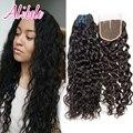 Rosa cabelo brasileiro virgem do cabelo 3 bundles com lace closure produtos de cabelo Molhado e Ondulado Brazillian Onda de Água Do Cabelo Humano Com fechamento