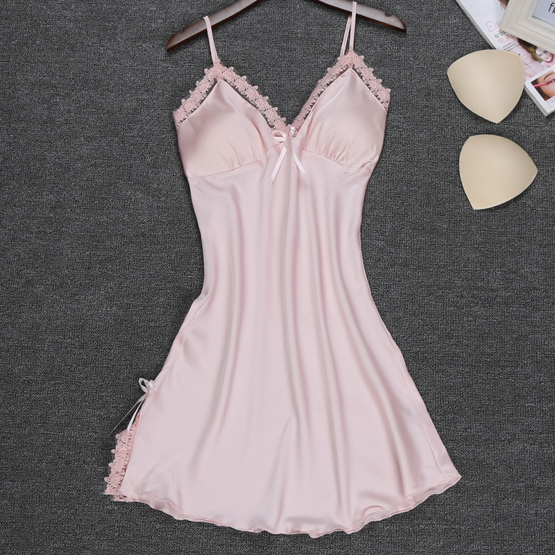 New Arrival young girls sexy V-neck lingerie babydolls chemises nightgows lace & satin patchwork sleepwear for women nightdress