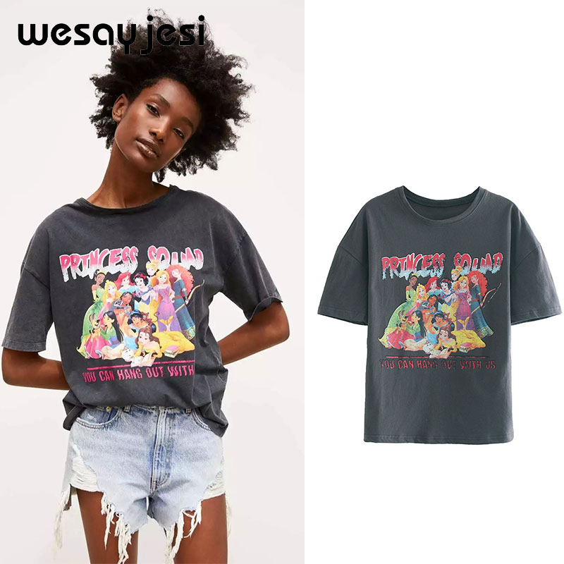 2019 summer   t     shirt   women harajuku korean clothes streetwear cartoon princess print cotton o-neck pink tshirt tops plus size
