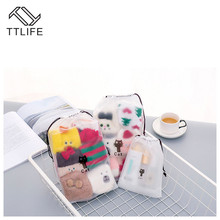 TTLIFE 3 Sizes EVA Black Cat Drawstring Clothes Storage Bag Cartoon Animal Transparent Matte Dust-proof Travel Organizer Pouch