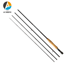 AI-SHOUYU Fly Fishing Rod 2.4M 2.7M 4 Section Line wt 3/4 5/6 7/8 Soft Cork Handle for Carp Pesca