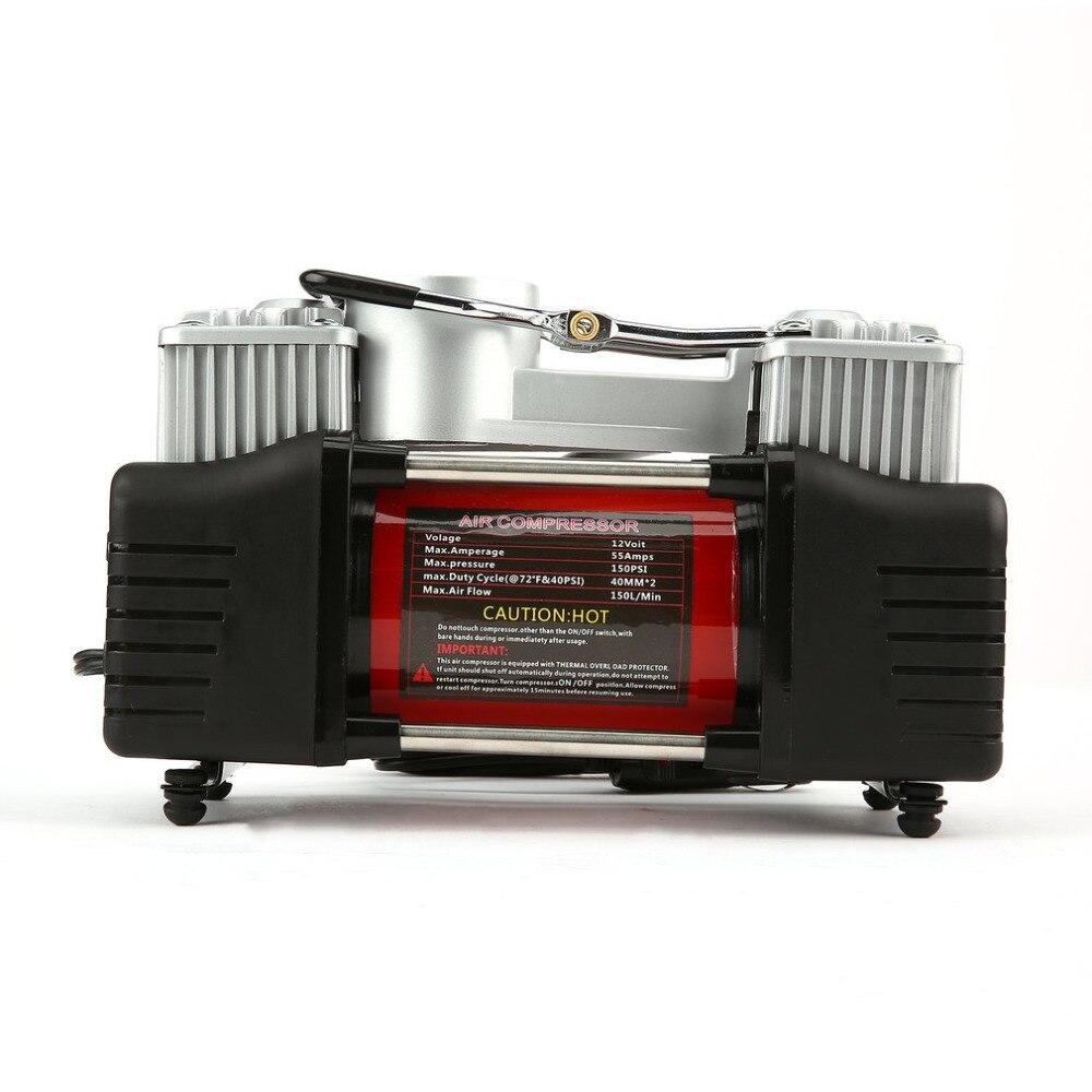 Pompe de gonflage de pneu de compresseur d'air de voiture 2 cylindres robuste de secours 12 V 150 PSI portable universelle pour voiture camions bicyclette