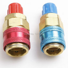 2pcs 1/4SAE R134A Quick Coupler QC - 12 LH Car Air Conditioning Fluoridated Quick Connectors red+blue