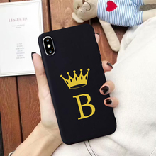 GYKZ Funny Gold Crown Letter Couple Case For iPhone XS MAX XR X 7 8 6 6s Plus Fashion Black Silicone Soft Phone Cover Slim Coque