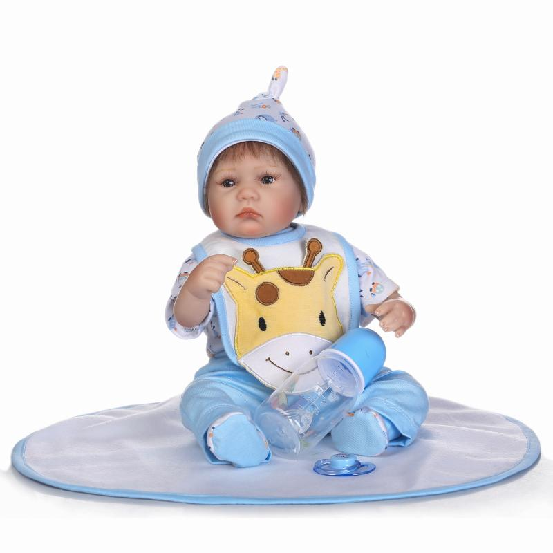 Nicery 16-18inch 40-45cm Bebe Doll Reborn Soft Silicone Boy Girl Toy Reborn Baby Doll Gift for Children Blue Giraffe white Doll nicery 18inch 45cm reborn baby doll magnetic mouth soft silicone lifelike girl toy gift for children christmas pink hat close