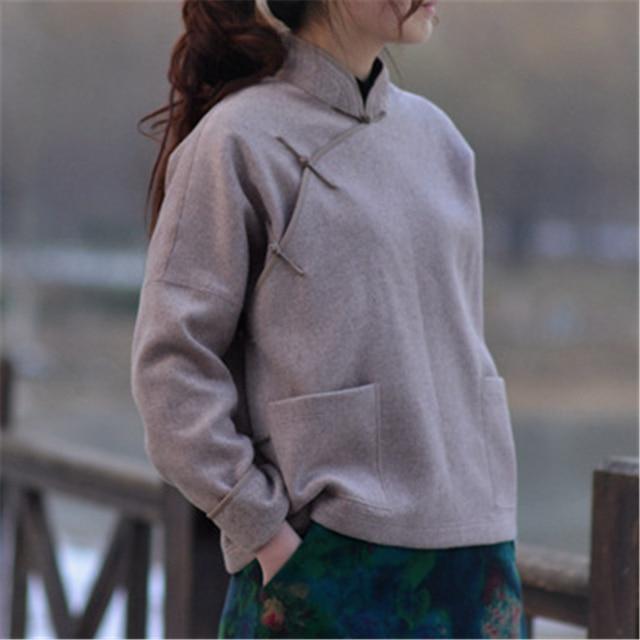 Johnature נשים צמר מעילי בציר ארוך שרוול סטנד כיסי נשים בגדי אופנה 2019 סתיו חורף Loose מעילים חמים