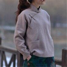 Johnature, abrigos de lana para mujer, Vintage, de manga larga, con bolsillos, ropa de mujer a la moda, Otoño Invierno 2019, abrigos cálidos sueltos
