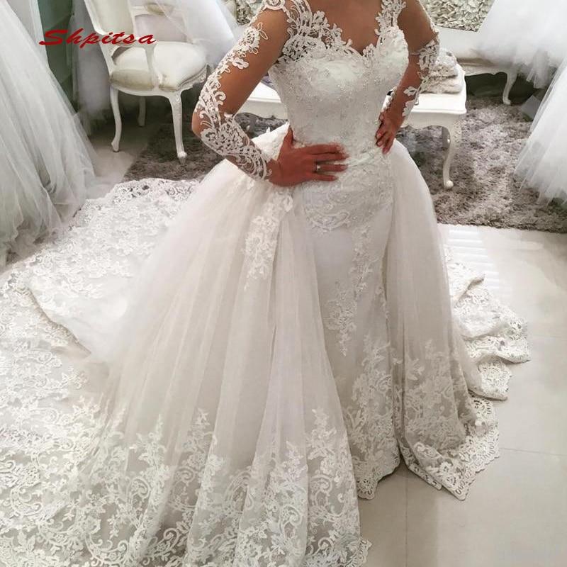 Long Sleeve Lace Wedding Dresses 2 In 1 Detachable Train Plus Size Bride Bridal Weding Weeding Dresses Wedding Gowns 2019