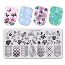 BeautyBigBang 6*12cm Nail Stamping Plates Square Flower Butterfly Grid Image For Nails Template Art BBB XL-042