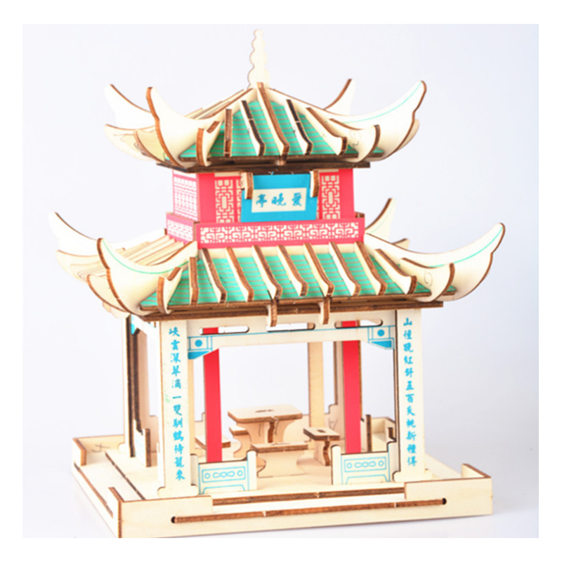 DIY Model toys 3D Wooden Puzzle-Chinese model Bridge Wooden Kits Puzzle Game Assembling Toys Gift for Kids Adult P37