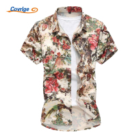 Covrlge Men Hawaiian Shirt 2018 Summer Fashion Mens Silk Cotton Shirts Short Sleeve Printed Camisa Plus Size Beach Shirt MCS038