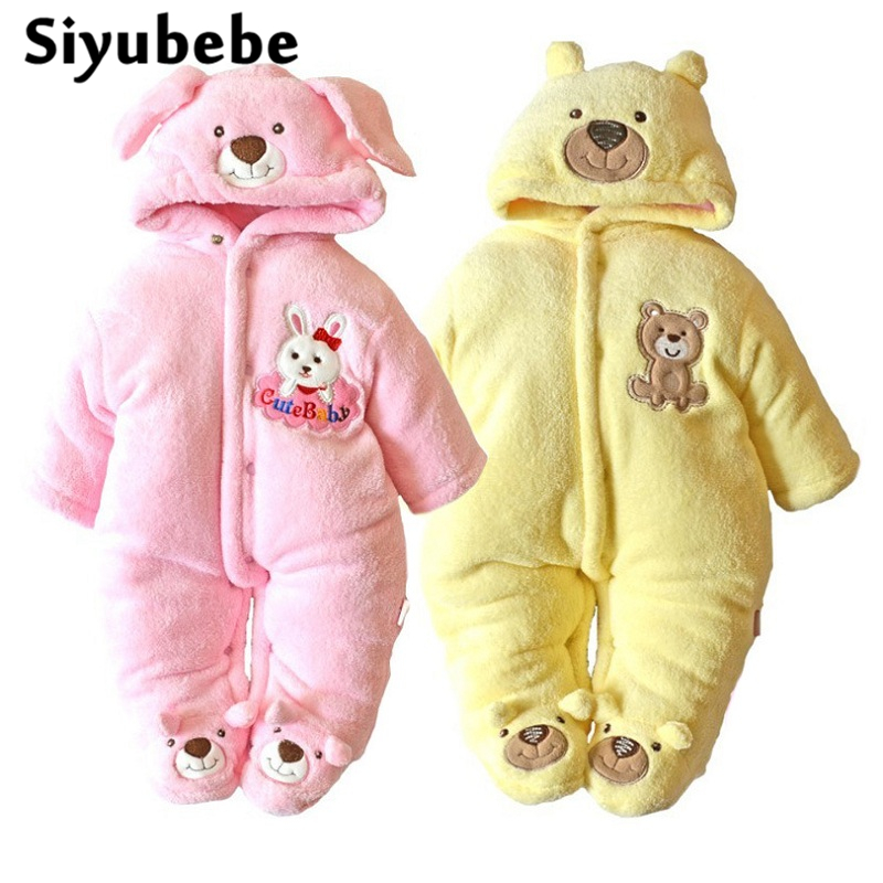 Newborn Baby Girls Clothing Coral Fleece Warm Winter Boy Rompers Cartoon Infant Clothes Meninas Bear Down Snowsuit Bebe Jumpsuit