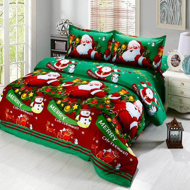 4pcs Christmas Bedding Set Green Blue Red Gift Duvet Cover King Queen Bed