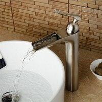 Bathroom Basin Faucet Waterfall Sink Faucet Nickel/Black Hot & Cold Basin Crane Tap Sink Mixer Tap Washbasin Torneira Grifo