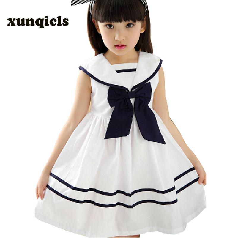xunqicls 3colours gyermek lányok ruha bowknot gyerekek tengerész ruhák ujjatlan pamut nyári gyerek lány ruhát