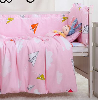 7PCS baby bed sheet bedding 100% cotton set for newborn super soft Comforter cot quilt Cot Set,(4bumpers+sheet+pillow+duvet) clara clark premier 1800 series bed sheet collection