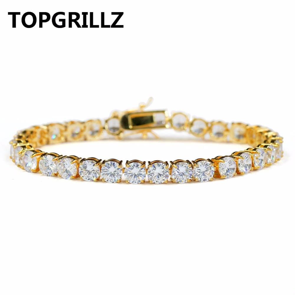 TOPGRILLZ Hip Hop pulsera AAA Cubic Zirconia tenis pulseras todo helado regalo de estilo elegante para la boda/compromiso/ cumpleaños