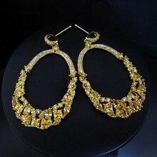 Venta caliente FashionWomen pendientes, venta caliente de la Manera AAA zirconia cúbico amarillo pendientes de gota de piedra, brillante, H7596