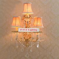 Svitz גדול 3-arm מרפסת גופי הוביל פמוט קיר זהב יוקרה גדולה וילה אורות נר קיר חדר שינה מנורות קיר עם אהיל
