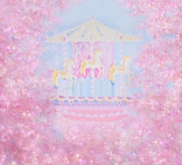 Toile de fond de fête d'anniversaire de bébé de vinyle pour la photographie fond de rêve rose pour les enfants toile de fond d'impression de cabine de Photo