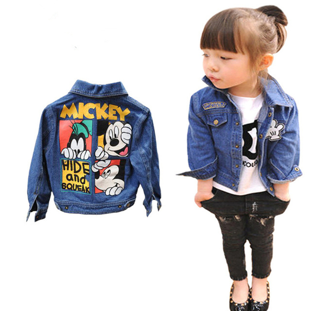 c9d17c182 Kids Toddler girl blazer Denim Jacket Mickey clothing Spring Jeans coat  Minnie Children Girls Outerwear jackets outfits clothes