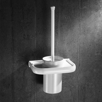 Nordic All Ceramic Cup White Paint Toilet Brush Rack Bathroom White Bowl Pure Bathroom Accessories Set