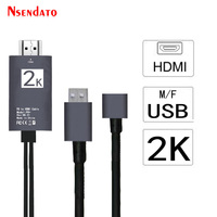 2M 1080P Digital AV HDMI Cable Adapter 2 In 1 USB 2.0 To HDMI HDTV Converter Connector for Lighting iPad iPhone TV Smartphone