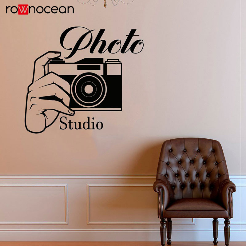 Free Shipping Photo Studio Digital Camera Photograph Wall Decals Vinyl Self adhesive film Wall Sticker Interior Decoration CA04 in Wall Stickers from Home Garden