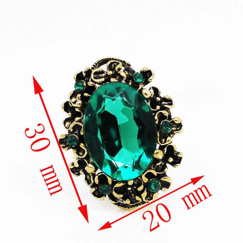 العتيقة برونزية خمر الذهب اللون الأخضر كريستال حجر الراين قابل للتعديل البنصر مجوهرات النساء الزفاف موضة 1105