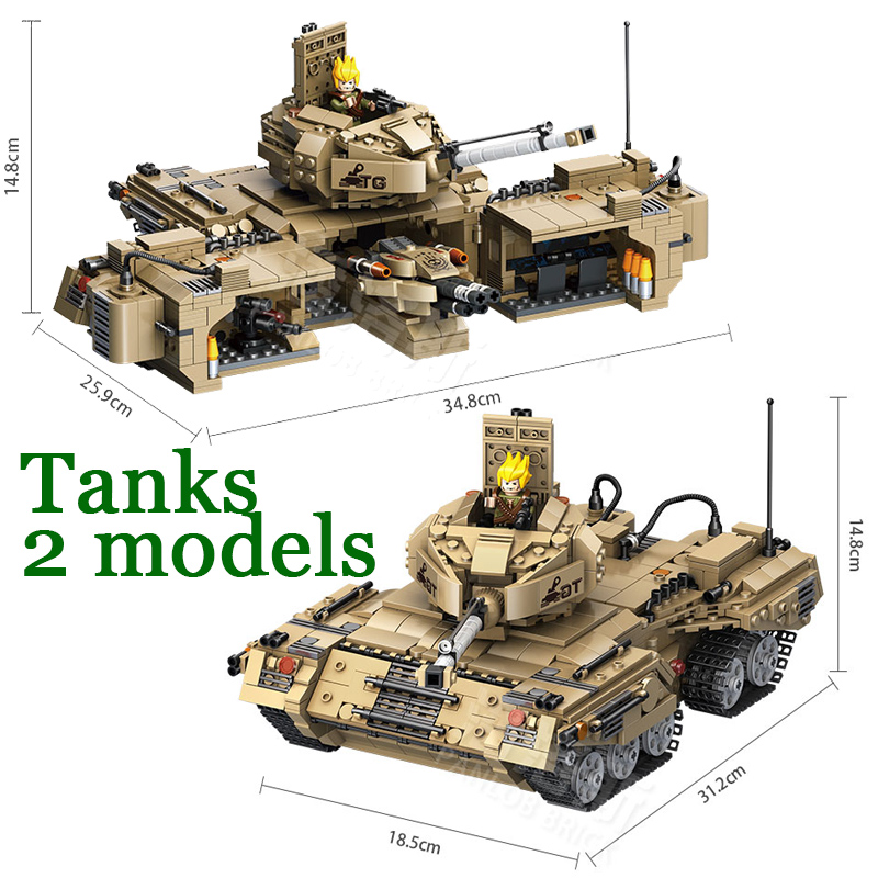 1435pcs 2in1 Army World Military of Tanks Soldiers Building Blocks Bricks compatible legoingly Toys For Children Boys ww2 German modern military world war giant battleship type 052d destroyer 2in1 building block plastic submarine model bricks toys for boys