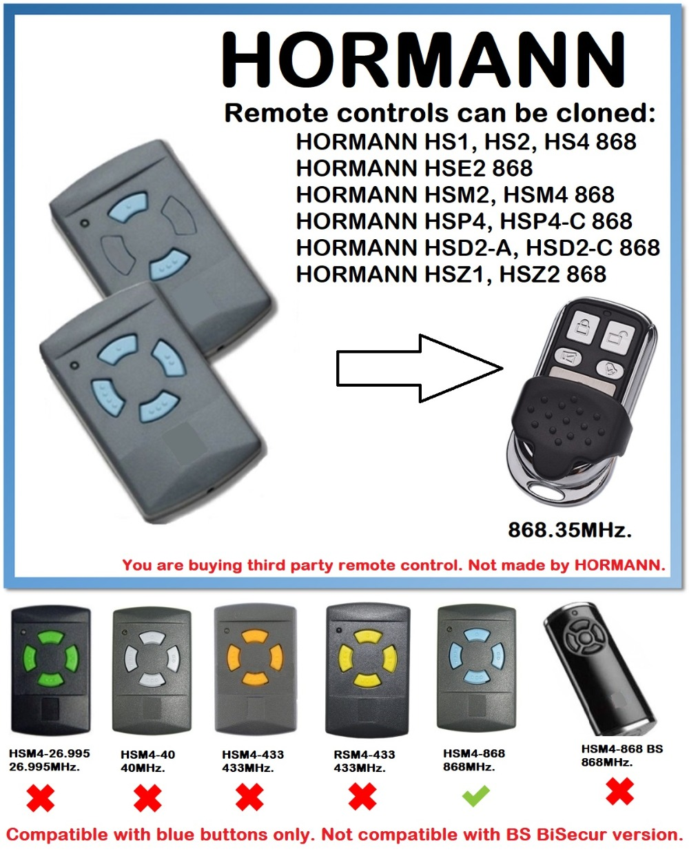 Hormann HSM4 868 mhz remote control Compatible with HSM2, HSM4 HS1 HS2 HS4 HSP4 HSP4-C HSE2 868MHz remote control duplicator