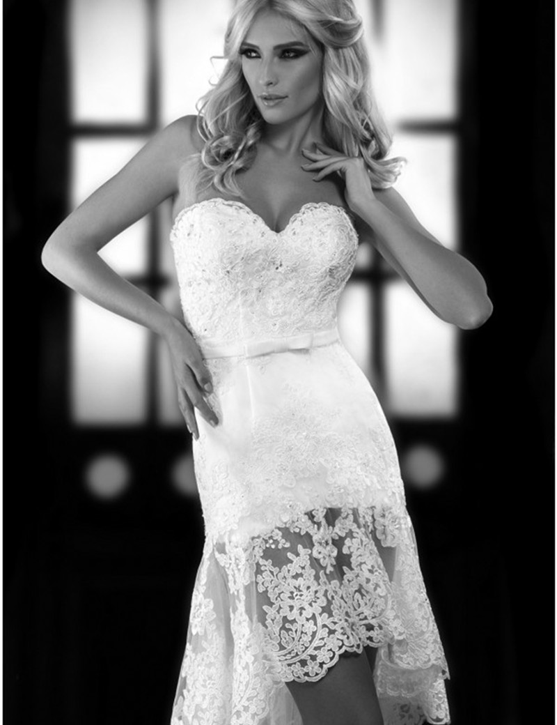 Plus Size Vestido De Noiva Fashion High Low Short Lace Wedding Dress 2017 Vintage Country Style Bridal In Dresses From Weddings