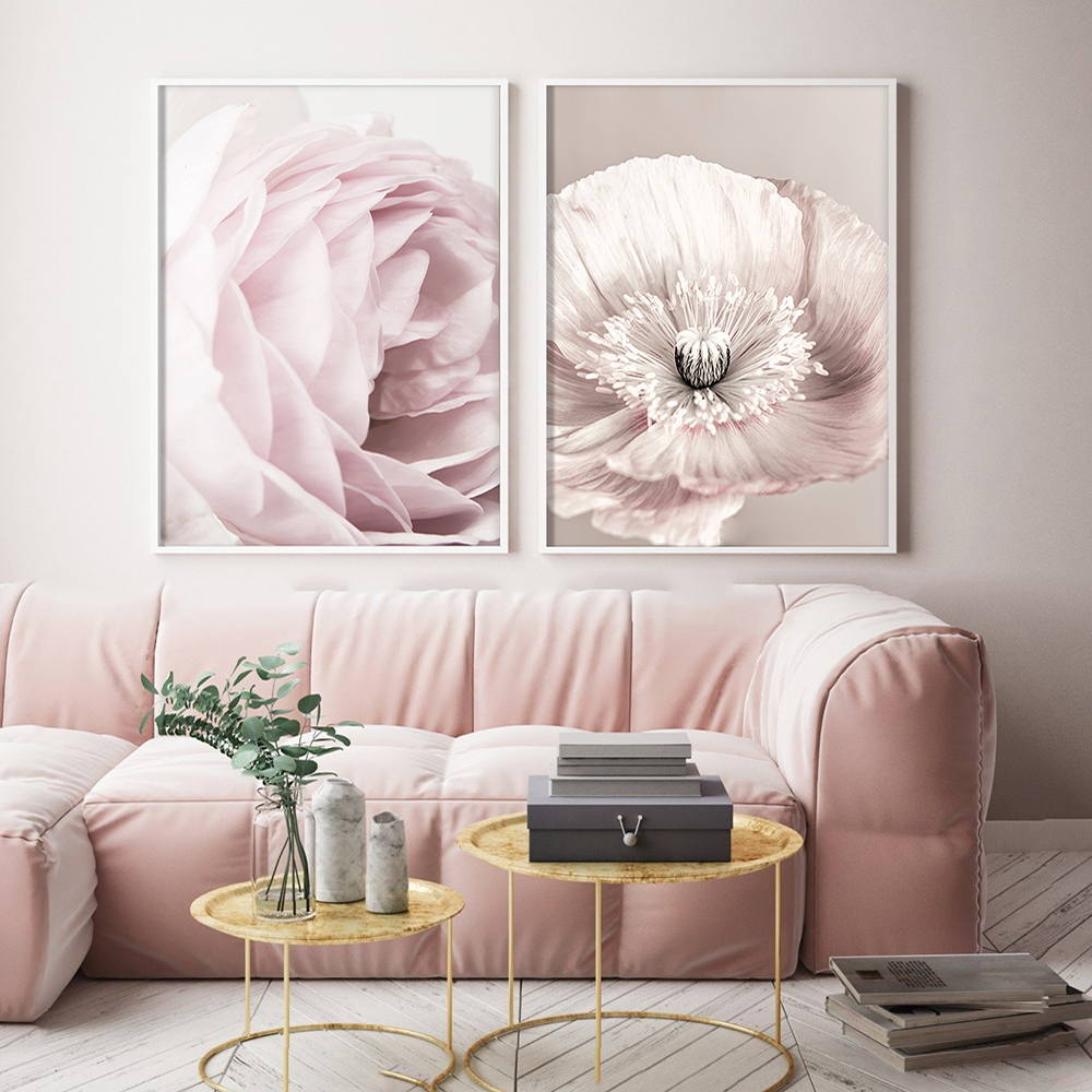 Pink Blush Peony Poster Nordic Canvas Painting Wall art Posters and Prints Flowers Pictures For Living Room Home Scandinavian