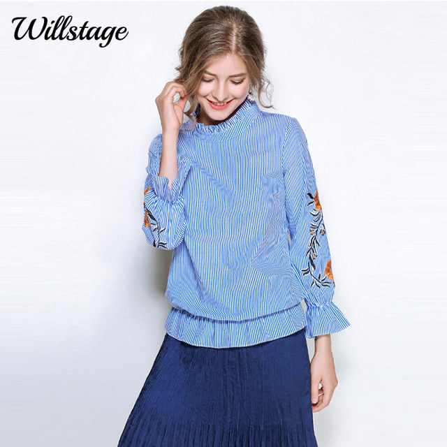 481cd6f2724 Willstage 5XL Plus size Blue Striped Blouse Women Long Sleeve Ruffle Tops  Floral Embroidery Oversize Shirt Large 2018 Spring New