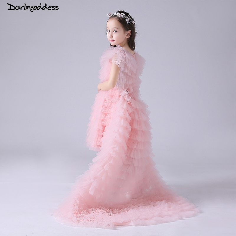 Pink   Flower     Girl     Dresses   for Weddings 2018 Ball Gown   Girl   Kids First Communion   Dress   for   Girls   Pageant Gown with Removable Train