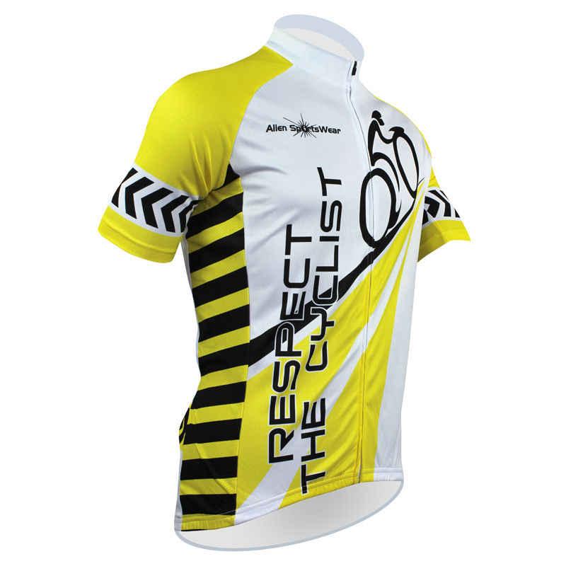 Alien SportsWear RESPEKTIEREN DIE RADFAHRER Muster Männer Sommer Kurzarm Radfahren Kleidung Gelb Quick Dry Fahrrad Jersey Größe XS-5XL