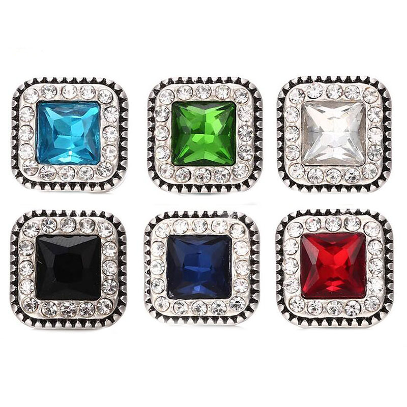 Hot wholesale 10pcs/lot High quality Mix 18mm Square Metal Snap Button Charm Rhinestone diy Button Ginger Snaps Jewelry