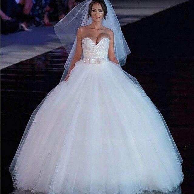 1e702b115a58 White Ball gown Wedding dresses Sweetheart Backless Tulle Luxury Sparkle  Sash Vestido de Noiva Custom made Bridal gowns