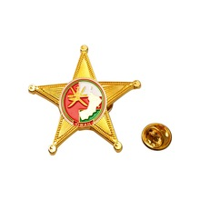 Customized Golden Badge Factory Wholesale Pentagram Shape Metal