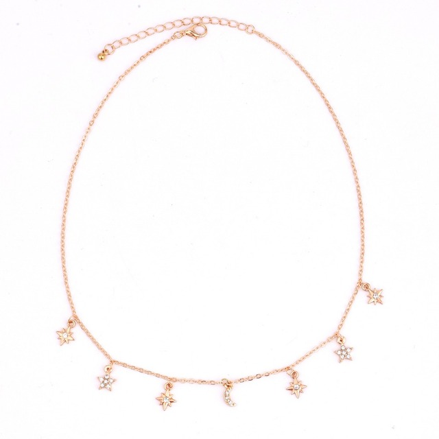 New fashion trendy jewelry moon star choker necklace gift for women girl N2096 3
