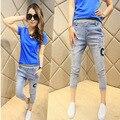 2016 новая весна эластичный пояс брюки семь Корейских женщин узкие брюки Харен письмо ноги женские джинсы