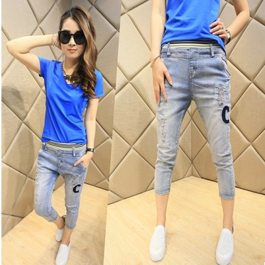 2016 new spring elastic waist pants seven Korean women skinny pants Haren letter feet female jeans